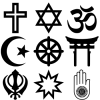 English: Religious symbols from the top nine o...